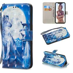 Ice Wolf 3D Painted Leather Wallet Phone Case for iPhone XS Max (6.5 inch)