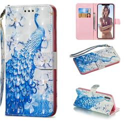 Blue Peacock 3D Painted Leather Wallet Phone Case for iPhone XS Max (6.5 inch)