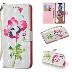Flower Panda 3D Painted Leather Wallet Phone Case for iPhone XS Max (6.5 inch)
