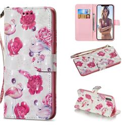 Flamingo 3D Painted Leather Wallet Phone Case for iPhone XS Max (6.5 inch)