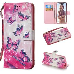 Pink Butterfly 3D Painted Leather Wallet Phone Case for iPhone XS Max (6.5 inch)