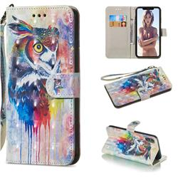 Watercolor Owl 3D Painted Leather Wallet Phone Case for iPhone XS Max (6.5 inch)