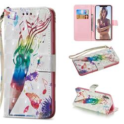 Music Pen 3D Painted Leather Wallet Phone Case for iPhone XS Max (6.5 inch)