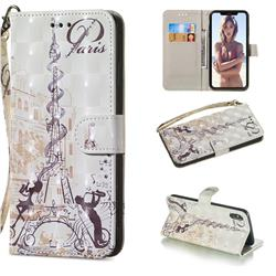 Tower Couple 3D Painted Leather Wallet Phone Case for iPhone XS Max (6.5 inch)