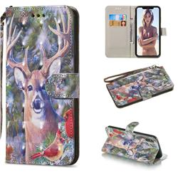 Elk Deer 3D Painted Leather Wallet Phone Case for iPhone XS Max (6.5 inch)