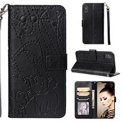 Embossing Fireworks Elephant Leather Wallet Case for iPhone XS Max (6.5 inch) - Black