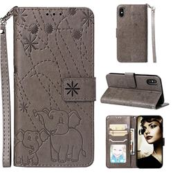 Embossing Fireworks Elephant Leather Wallet Case for iPhone XS Max (6.5 inch) - Gray
