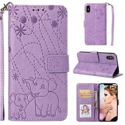 Embossing Fireworks Elephant Leather Wallet Case for iPhone XS Max (6.5 inch) - Purple
