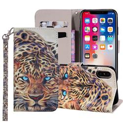 Leopard 3D Painted Leather Phone Wallet Case Cover for iPhone XS Max (6.5 inch)
