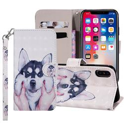 Husky Dog 3D Painted Leather Phone Wallet Case Cover for iPhone XS Max (6.5 inch)