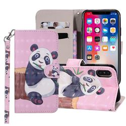Happy Panda 3D Painted Leather Phone Wallet Case Cover for iPhone XS Max (6.5 inch)