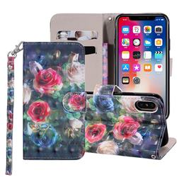 Rose Flower 3D Painted Leather Phone Wallet Case Cover for iPhone XS Max (6.5 inch)