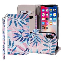 Green Leaf 3D Painted Leather Phone Wallet Case Cover for iPhone XS Max (6.5 inch)