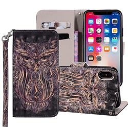 Tribal Owl 3D Painted Leather Phone Wallet Case Cover for iPhone XS Max (6.5 inch)