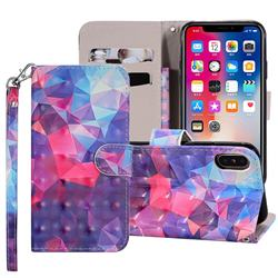 Colored Diamond 3D Painted Leather Phone Wallet Case Cover for iPhone XS Max (6.5 inch)
