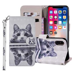 Mirror Cat 3D Painted Leather Phone Wallet Case Cover for iPhone XS Max (6.5 inch)