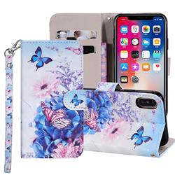 Pansy Butterfly 3D Painted Leather Phone Wallet Case Cover for iPhone XS Max (6.5 inch)