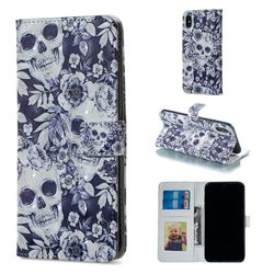 Skull Flower 3D Painted Leather Phone Wallet Case for iPhone XS Max (6.5 inch)
