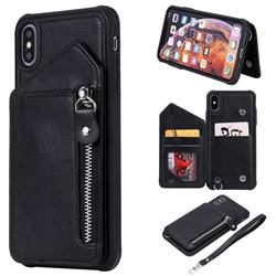 Classic Luxury Buckle Zipper Anti-fall Leather Phone Back Cover for iPhone XS Max (6.5 inch) - Black
