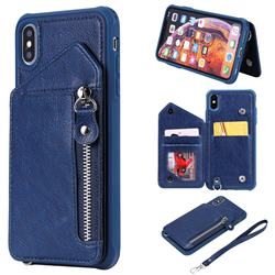 Classic Luxury Buckle Zipper Anti-fall Leather Phone Back Cover for iPhone XS Max (6.5 inch) - Blue