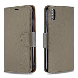 Classic Luxury Litchi Leather Phone Wallet Case for iPhone XS Max (6.5 inch) - Gray
