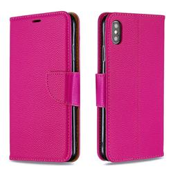 Classic Luxury Litchi Leather Phone Wallet Case for iPhone XS Max (6.5 inch) - Rose