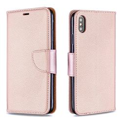 Classic Luxury Litchi Leather Phone Wallet Case for iPhone XS Max (6.5 inch) - Golden