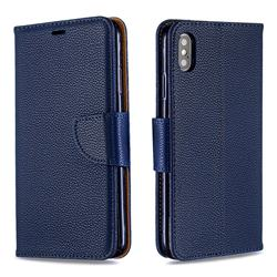 Classic Luxury Litchi Leather Phone Wallet Case for iPhone XS Max (6.5 inch) - Blue
