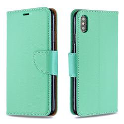 Classic Luxury Litchi Leather Phone Wallet Case for iPhone XS Max (6.5 inch) - Green