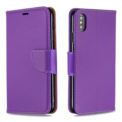 Classic Luxury Litchi Leather Phone Wallet Case for iPhone XS Max (6.5 inch) - Purple