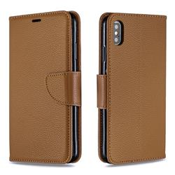 Classic Luxury Litchi Leather Phone Wallet Case for iPhone XS Max (6.5 inch) - Brown