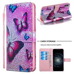 Blue Butterfly Sequins Painted Leather Wallet Case for iPhone XS Max (6.5 inch)
