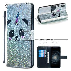 Panda Unicorn Sequins Painted Leather Wallet Case for iPhone XS Max (6.5 inch)