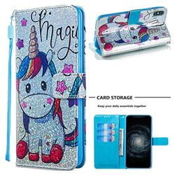 Star Unicorn Sequins Painted Leather Wallet Case for iPhone XS Max (6.5 inch)