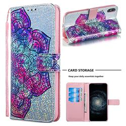 Glutinous Flower Sequins Painted Leather Wallet Case for iPhone XS Max (6.5 inch)