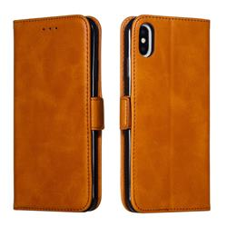 Retro Classic Calf Pattern Leather Wallet Phone Case for iPhone XS Max (6.5 inch) - Yellow