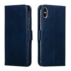 Retro Classic Calf Pattern Leather Wallet Phone Case for iPhone XS Max (6.5 inch) - Blue