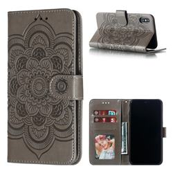 Intricate Embossing Datura Solar Leather Wallet Case for iPhone XS Max (6.5 inch) - Gray