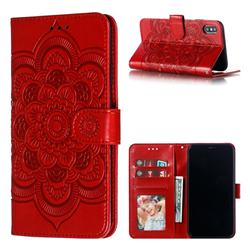 Intricate Embossing Datura Solar Leather Wallet Case for iPhone XS Max (6.5 inch) - Red
