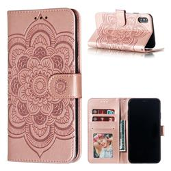 Intricate Embossing Datura Solar Leather Wallet Case for iPhone XS Max (6.5 inch) - Rose Gold