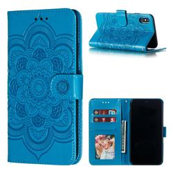 Intricate Embossing Datura Solar Leather Wallet Case for iPhone XS Max (6.5 inch) - Blue