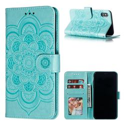 Intricate Embossing Datura Solar Leather Wallet Case for iPhone XS Max (6.5 inch) - Green