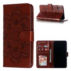 Intricate Embossing Datura Solar Leather Wallet Case for iPhone XS Max (6.5 inch) - Brown