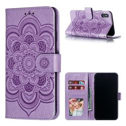 Intricate Embossing Datura Solar Leather Wallet Case for iPhone XS Max (6.5 inch) - Purple