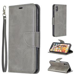 Classic Sheepskin PU Leather Phone Wallet Case for iPhone XS Max (6.5 inch) - Gray