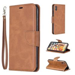 Classic Sheepskin PU Leather Phone Wallet Case for iPhone XS Max (6.5 inch) - Brown