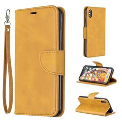 Classic Sheepskin PU Leather Phone Wallet Case for iPhone XS Max (6.5 inch) - Yellow