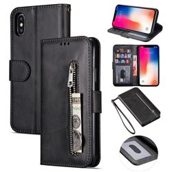 Retro Calfskin Zipper Leather Wallet Case Cover for iPhone XS Max (6.5 inch) - Black