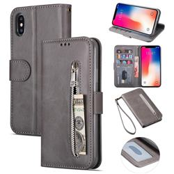 Retro Calfskin Zipper Leather Wallet Case Cover for iPhone XS Max (6.5 inch) - Grey