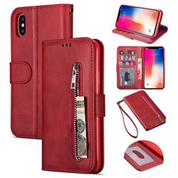 Retro Calfskin Zipper Leather Wallet Case Cover for iPhone XS Max (6.5 inch) - Red